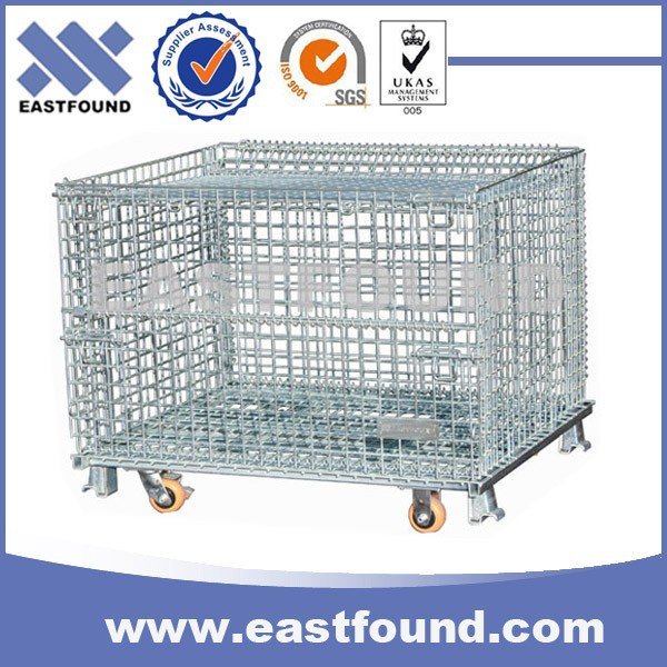 Galvanized Movable Cargo Storage Lockable Wire Cages With Wheels