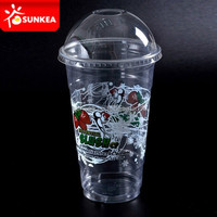 Disposable clear 16oz PET plastic bubble tea cups