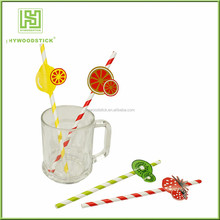 PP custom printed Flexible Biodegradable Cocktail Fancy Drinking Paper Straws
