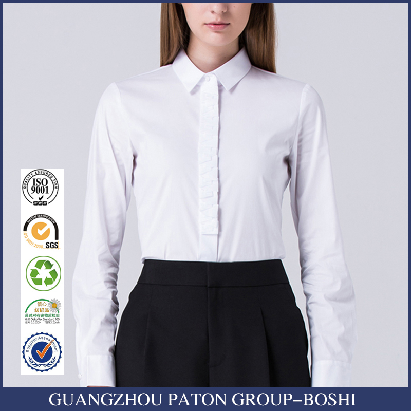 2017 Designs Ladies Formal White Shirts For Women