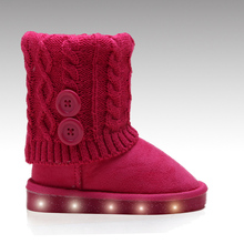 X-mas gift knitted shaft led light up Children boots