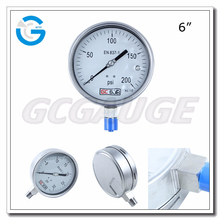 High Quality stainless steel bourdon tube ordinary pressure gauge manometer 150mm