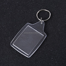 fashion clear acrylic photo frame keychain logo key ring keychain credit card holder chain types of keyrings