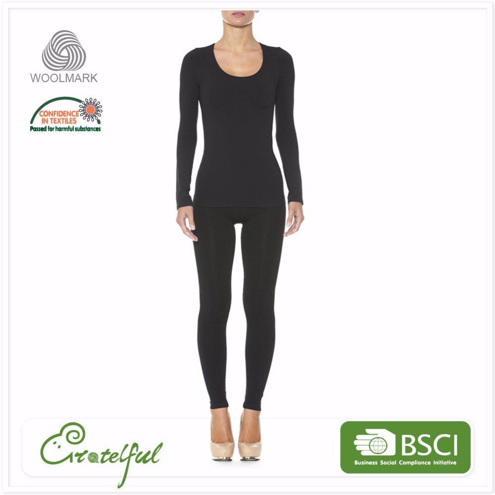 Wholesale thermal breathable women merino wool base layer suit