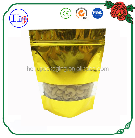 alibaba supplier custom made golden stand up bag for food storage