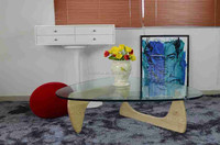 Japanese designer furniture temper glass top triangle coffee table