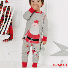 2016 Latest red and gray Santa Claus print christmas pajamas set kids winter children clothing sets cotton