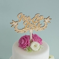 Laser engrave wood mr and mrs cake topper for wedding