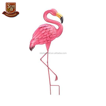 Hot sale animal garden decoration metal pink flamingo figurine