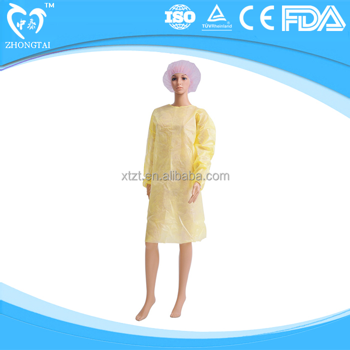 China manufacturer disposable nonwoven medical isolation gown clothes