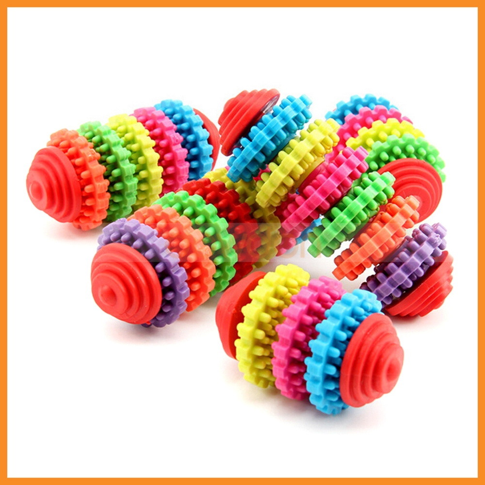 Colorful Rubber Puppy Training Tool Dog Playing Toys Teething Gum Gear Chew Toy