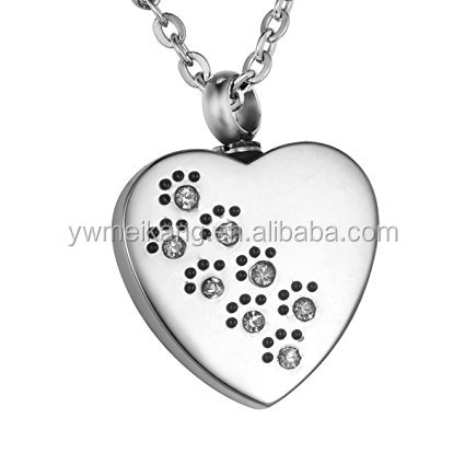 Memorial Diamond Pet Paws on Heart Urn Pendant Keepsake Necklace with Engraving