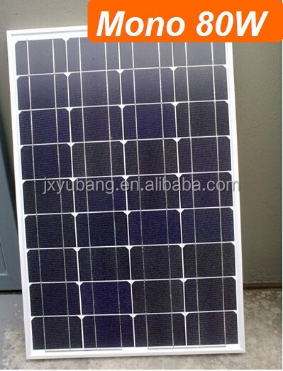 Grade A quality High Efficiency YB156M36-80W 80 Watt 12V mono crystalline solar pv panel for 12V battery charge