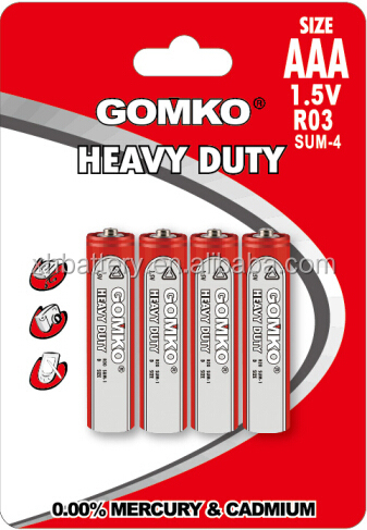 R03 size AAA 1.5v battery R03 size um4 1.5v battery
