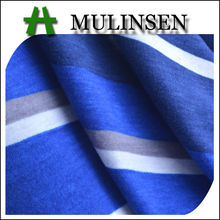Mulinsen Textile Printed Stretch Poly Spun Blue and White Stripe Fabric