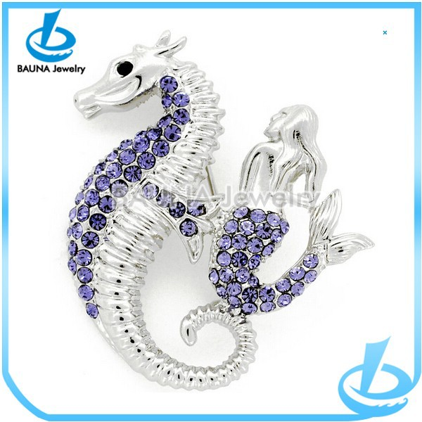 Wholesale fashion silver sea horse purple rhinestone mermaid brooch