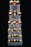 Wholesale 6 tier Plastic Cake Stand with Hanging Crystals