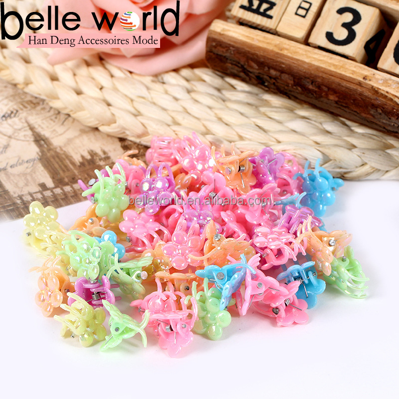 wholesale kids colors pearly flower small mini size plastic hair claw clip