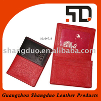 Realiable Quality Good Handmade Red Leather Card Holder Wallet