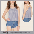 New Arrival Factory Price Custom Woven Sleeveless Blue Striped Self-tie Trapeze Top