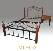 DIY new double metal bed frame with wooden post(ML-048)