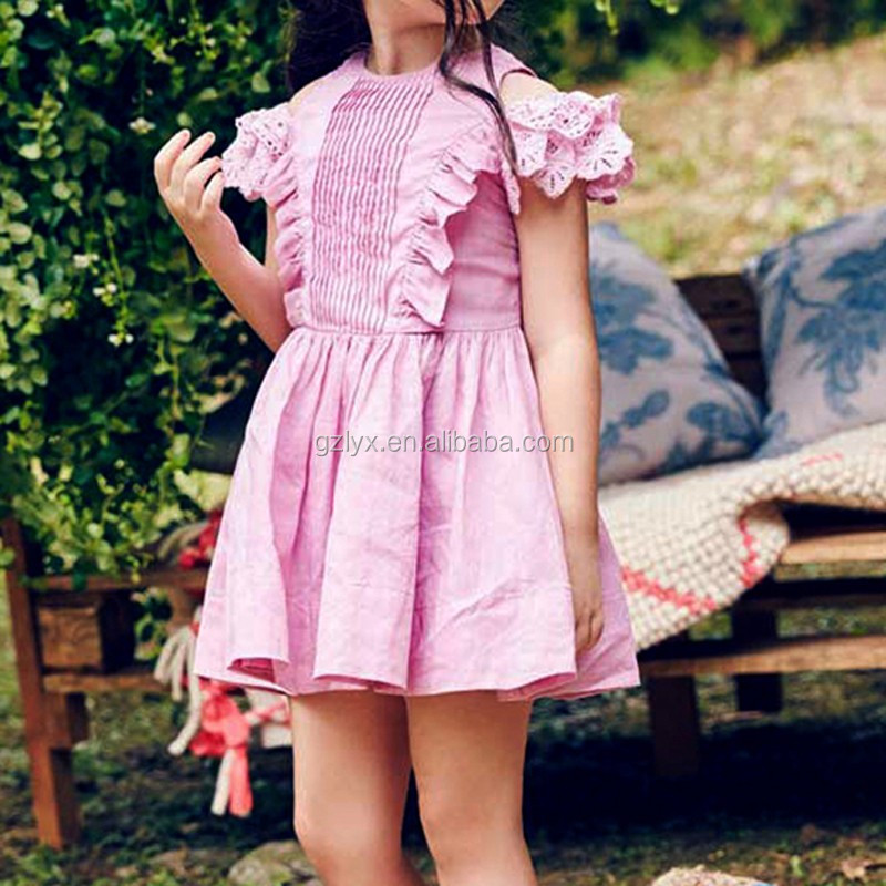 Boutique ruffles dresses for girl lace off shoulder baby cotton frocks designs summer cotton clothing for girl