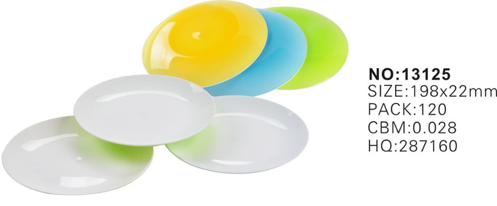Haixing colorful plastic plate two color kid dinner plate reusable microwaveable dia19.cm wholesale