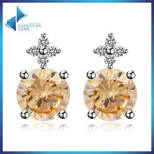 yellow cubic zirconia earrings with screw back