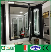Large Aluminum Frame Bi Fold Window With Double Glass Thant Open