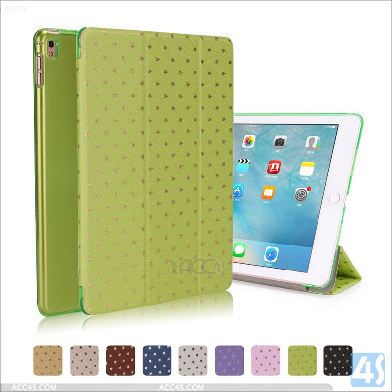 2016 new comiing wave image printed pu leather clear back cover smart case for ipad pro 9.7