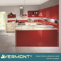 2018 Vermont New Red Color High Gloss Luxury Kitchen Cabinets Sets With Round Design