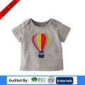fire balloon printing type cute gril home wear organic 100% cotton short sleeve apparel for children t-shirt
