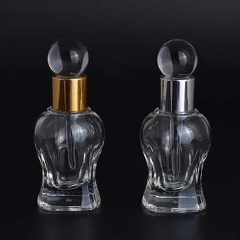 Wholesale unique shaped 10ml glass essential oil bottles empty clear glass perfume bottle with glass stick stopper