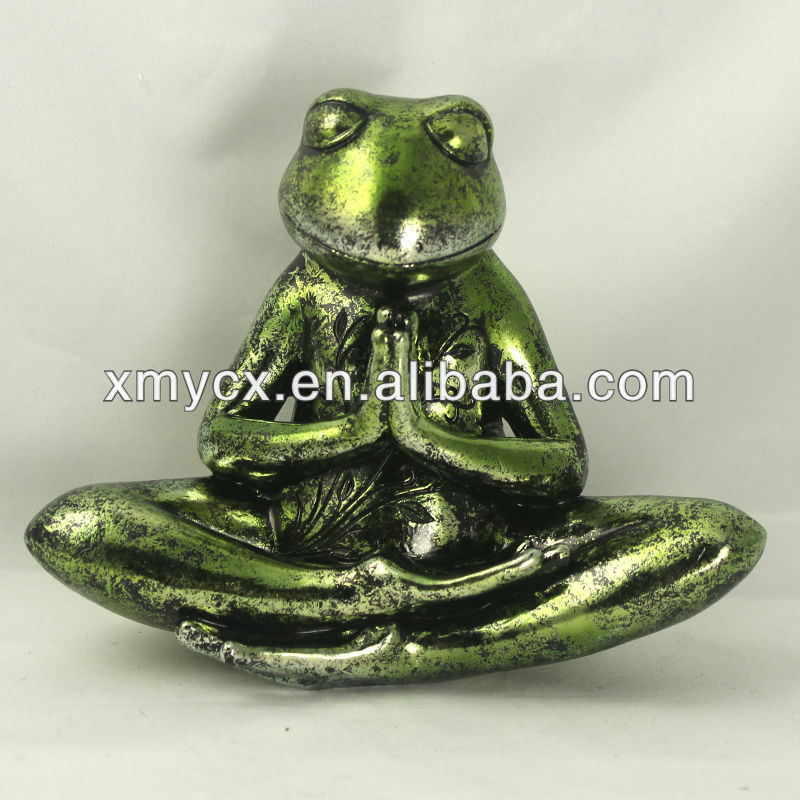 Handmade resin yoga frog for decor