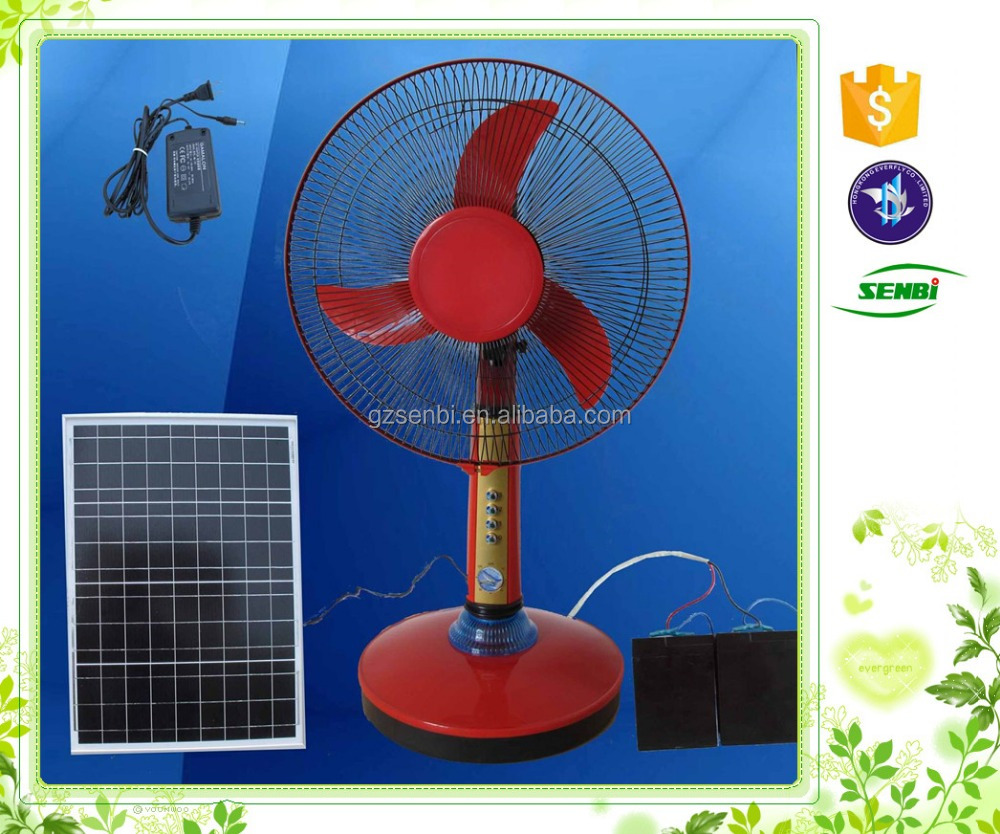 Guangzhou factory 16 inch red blue 12v dc solar table for 12v dc table fan price