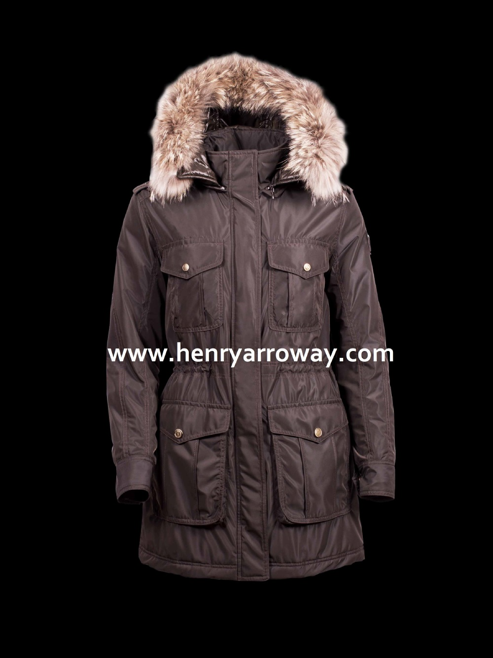 New fashion european style water repellent padded parka with natural fur hood for ladies from Henry Arroway Spain