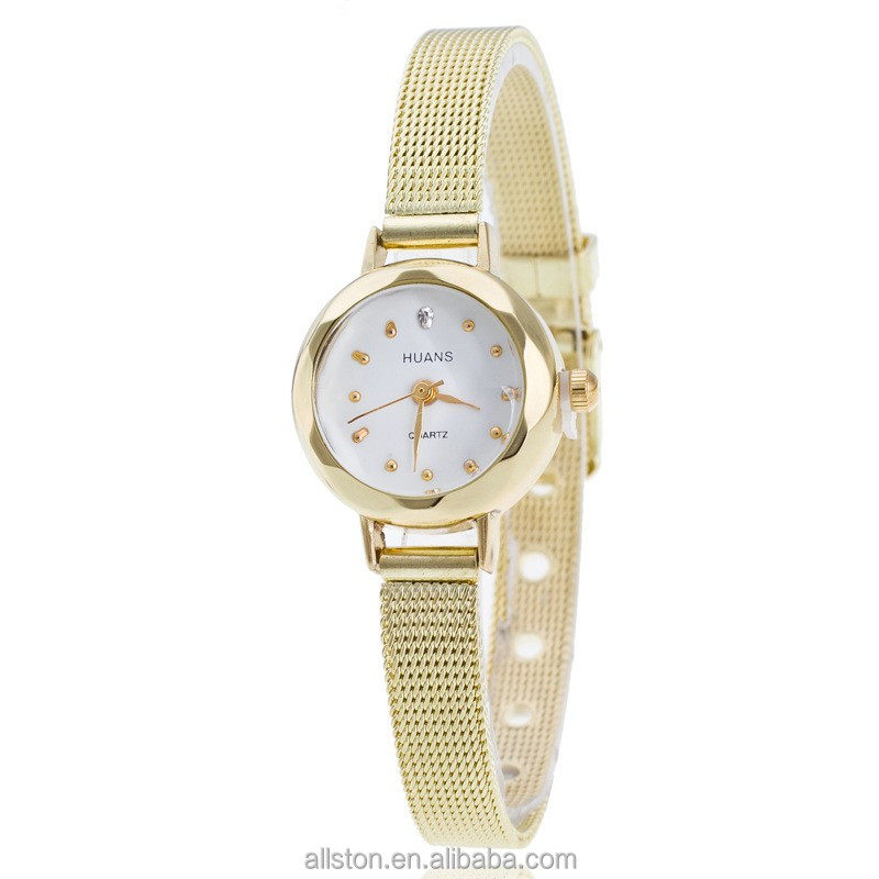 Ladies HUANS watch band watch wholesale fashion student alloy mesh Gold Diamond quartz watch