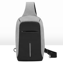 Canvas sling chest bag sport crossbody shoulder bag anti theft backpack with usb charger