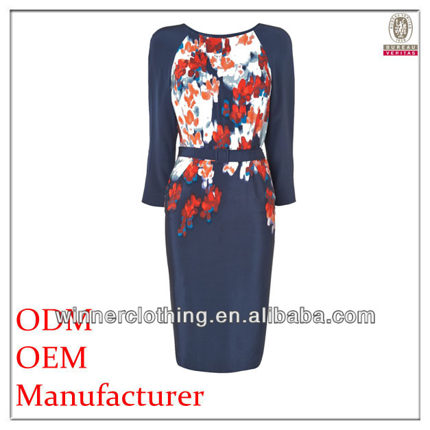 direct factory close-fitting flora printed women wholesale clothing