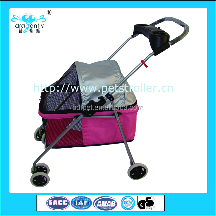 Foldable pet stroller locks carriage frame carrier for cats dogs