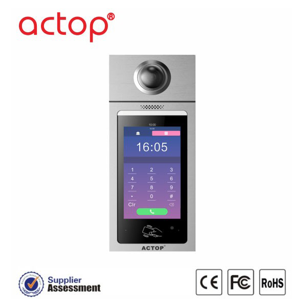 ACTOP hot sell TCP/IP SIP video door phone system 7'' touch screen with Full Duplex intercom