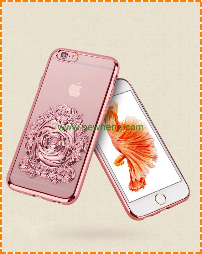 New fashion design luxury electroplating rose flowers tpu phone case for iPhone 6 6S