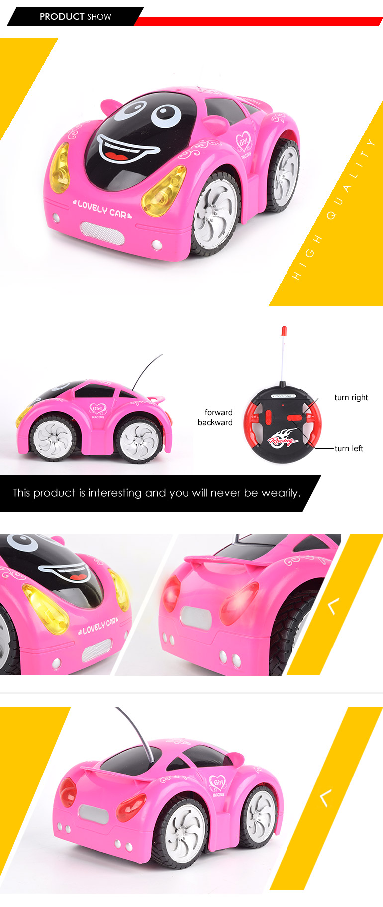 funny racing game lovely pink 4ch cartoon toy car remote control for little girl