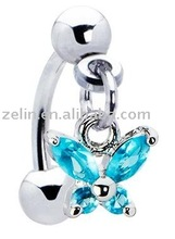 aqua gem butterfly dangle eyebrow ring,316L jewlery,body jewelry