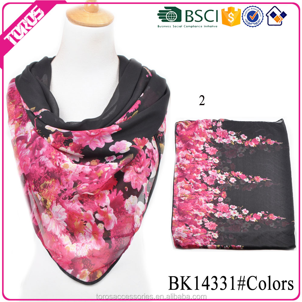 TOROS Welcome OEM ODM spring summer square flower scarf chiffon shawl