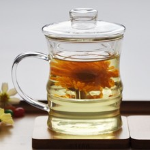 Chinese Style Glass Cup Mug Tumbler With Handle Infuser Borosilicate BPA Free Custom Glass Tea Cup With Lid