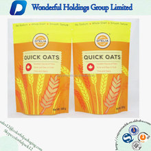 2016 Matte Plastic 500g Quick Oat Stand Up Pouch With Zipper Lock And Shape Window
