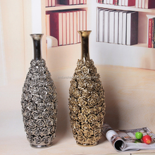 wholesale electroplated silver ceramic tall floor vase for dry flower