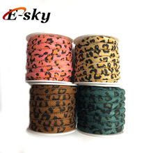Fashion cheap colorful 6mm round PU stitched rope leopard-print leather cord