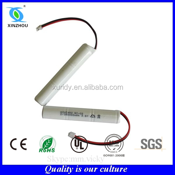 nicd 4.8V rechargeable battery pack 2/3aa
